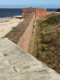 Fort Clinch - the crew walking along the wall