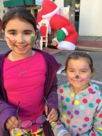 Face painting at Fernandina's after Thanksgiving PJ party