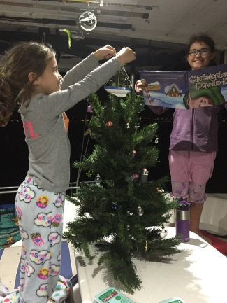 Decorating the boat Christmas tree